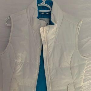 White Puffer Vest, Blue Interior